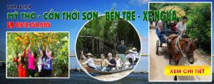 Tour du lịch Mỹ Tho - Cồn Thới Sơn - Đi xe ngựa trên đường làng - Du lịch Bến Tre