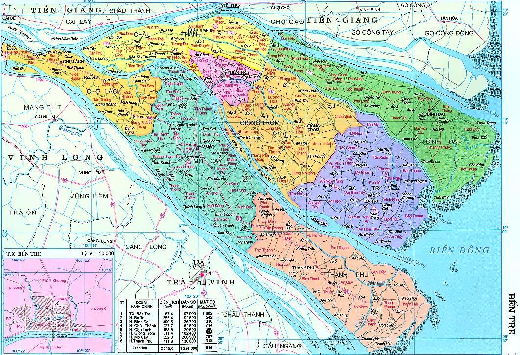 Bản đồ hành chính Bến Tre - Du lịch Bến Tre Tiền Giang