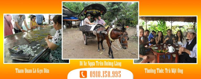 Tour Du lịch Đi xe ngựa trên đường làng Bến Tre