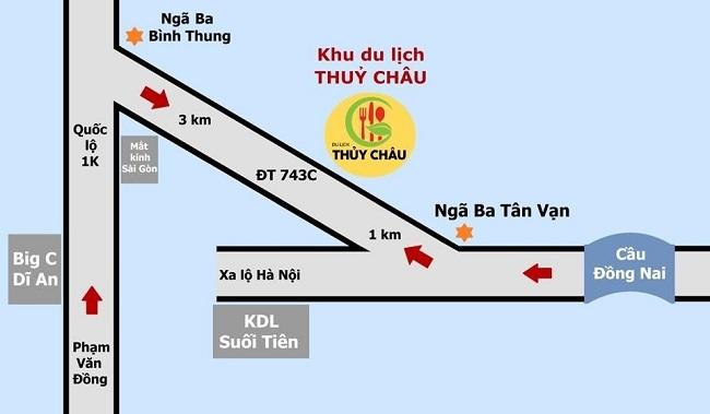 Đường đi đến khu du lịch Thủy Châu Bình Dương