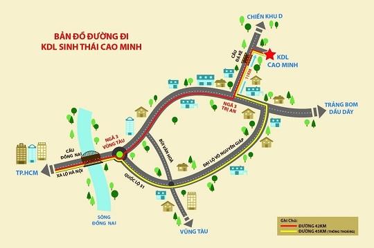 Bản đồ chỉ đường đến khu du lịch sinh thái Cao Minh