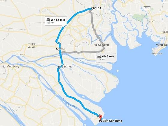 Đường đi đến Biển Cồn Bửng Thạnh Phú - Bến Tre