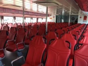 Ghế ngồi trê Tàu cao tốc tuyến Bến Tre - Vũng Tàu